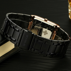 Image 4 - 2020 Luxury Mens Watch Quartz Analog Wristwatch WWOOR 8858 Man Stainless Steel Rectangular Business Watch Relogio Masculino #a