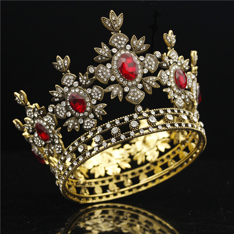 цена Baroque Bridal Crown Black Dress Tiara Crown Gold Royal King Diadem Bride Wedding hair Jewelry Male Tiaras and Crowns headdress