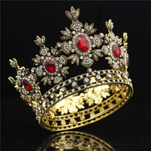 Baroque Bridal Crown Black Dress Tiara Crown Gold Royal King Diadem Bride Wedding hair Jewelry Male Tiaras and Crowns headdress(China)