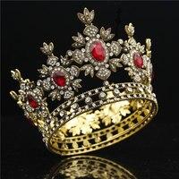 Baroque Bridal Crown Black Dress Tiara Crown Gold Royal King Diadem Bride Wedding hair Jewelry Male Tiaras and Crowns headdress