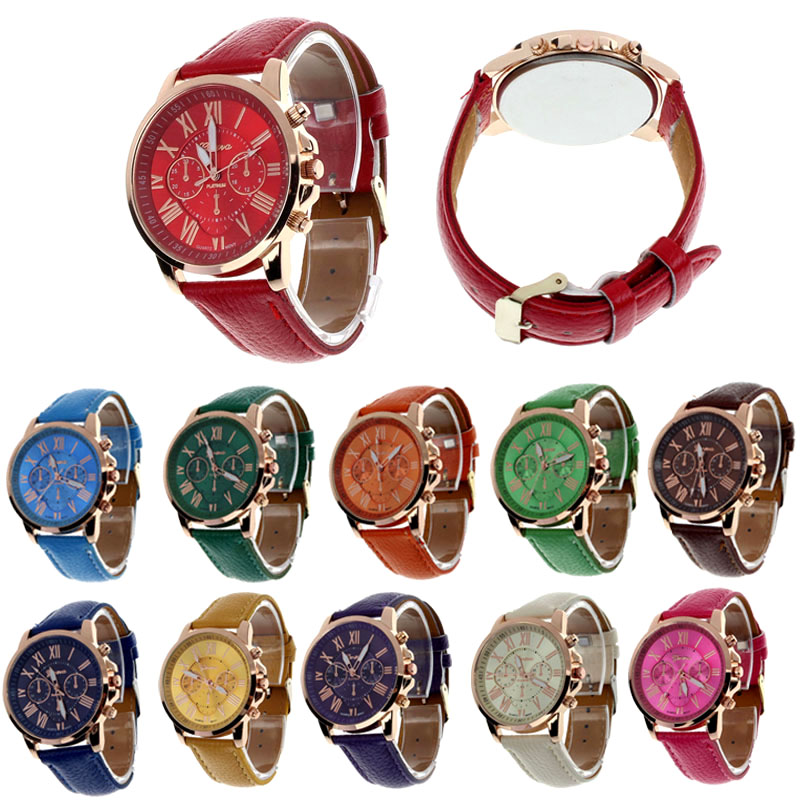 Fashion Geneva Roman Numerals Faux Leather Analog Quartz Women Wrist Watch women watches relojes para mujer montre femme fashion roman numerals watches women s clock geneva leather strap analog quartz watch ladies casual pink wrist watches reloj lh