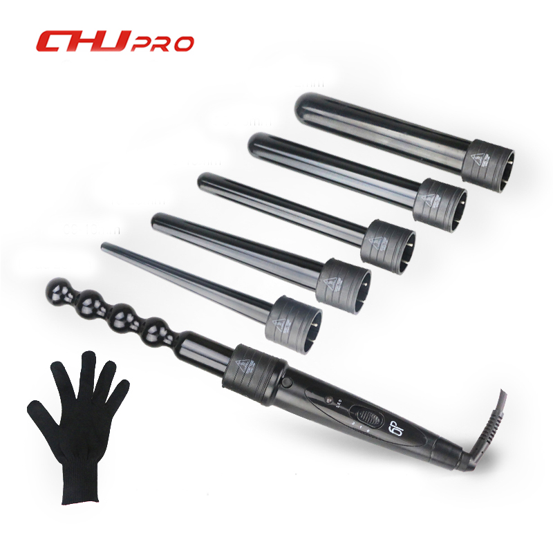 6 In 1 Hair Curling Iron Ceramic Hair Curler Roller Interchangeable Hair Tongs Led Curling Wand Hair Crimper With Glove #CJ-2806 ckeyin 9 31mm ceramic curling iron hair waver wave machine magic spiral hair curler roller curling wand hair styler styling tool