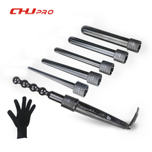 6 In 1 Hair Curling Iron Ceramic Hair Curler Roller Interchangeable Hair Tongs Led Curling Wand Hair Crimper With Glove #CJ-2806