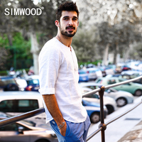 SIMWOOD 2017 New Spring Summer Casual Shirts Men 100 Pure Linen Breathable O Neck Brand Clothing