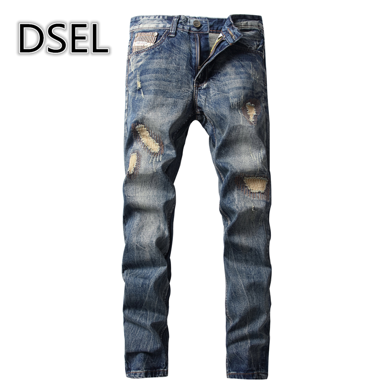 Streetwear Mens Patch Jeans Slim Fit Denim Jeans Ripped Pants High Quality Recommend New Famous Brand Jeans Men Trousers 7044 2017 fashion patch jeans men slim straight denim jeans ripped trousers new famous brand biker jeans logo mens zipper jeans 604