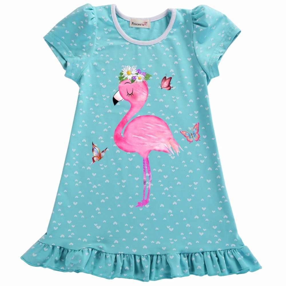 Рождественская футболка для девочек 2, 3, 4, 5, 6, 7 лет на день рождения синее Хлопковое платье; Розовая одежда с фламинго для маленьких детей; костюм для подростков