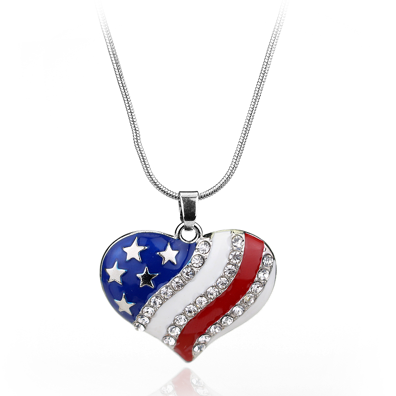 Trendy Accessories American stars and stripes Flag Heart Pendants Necklaces Link Chain Necklace