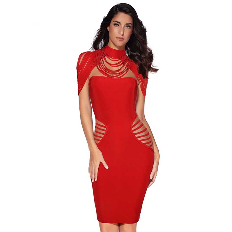 New bandage dress red Hollow Out Rayon knitted Stretch tight Fashion sexy Cocktail party bandage dress (H1894) цена