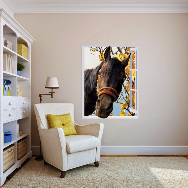 free shipping 3d horse out of window wall decal art photo waterproof
