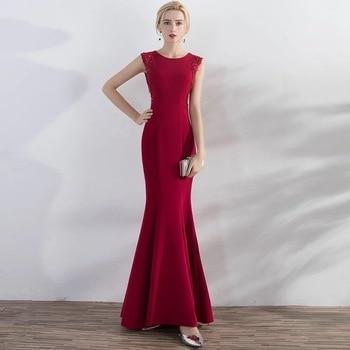 Holievery Avondjurk Burgundy Satin Mermaid Evening Dresses with Beading Appliques Long 2020 Evening Gowns Abiye Elbise