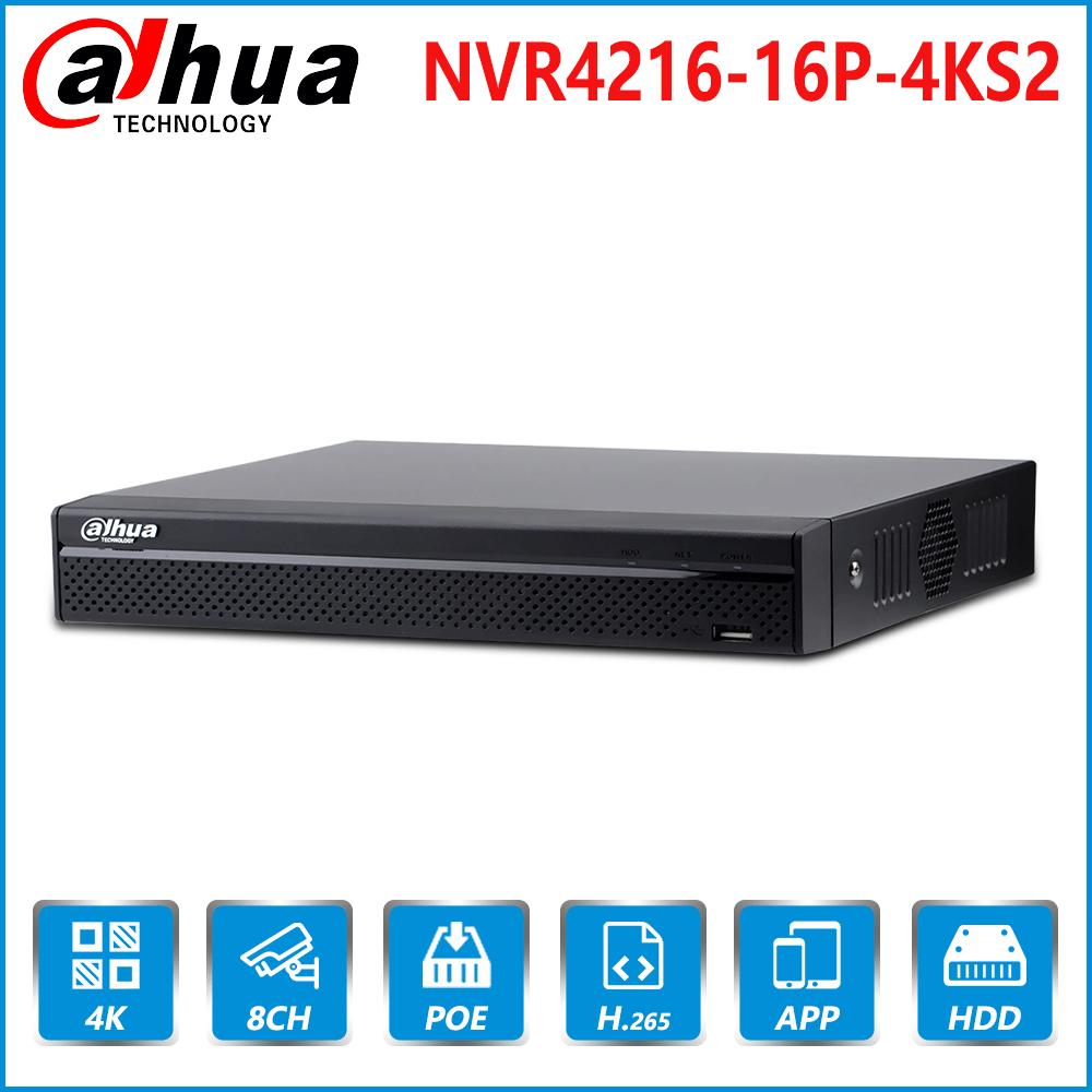 Dahua English Original NVR4216-16P-4KS2 16 Channel 16PoE 4K&H.265 Lite Network Video Recorder 4K  Security CCTV System