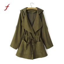 FEITONG Women Hooded Windbreaker Fashion Long Sleeve Jacket Coat Parka Pockets Cardigan Turn-down Collar New Autumn Thin coat