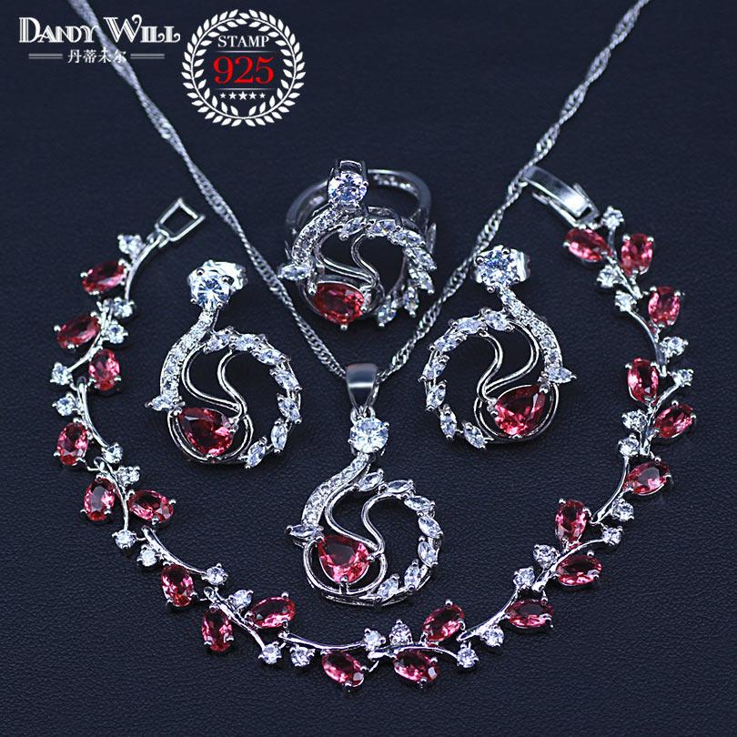 Four Piece 925 Sterling Silver Women Wedding Jewelry Sets Rose Red Garnet Ring Size 6/7/8/9/10 Bracelet Length 18CM+3CM