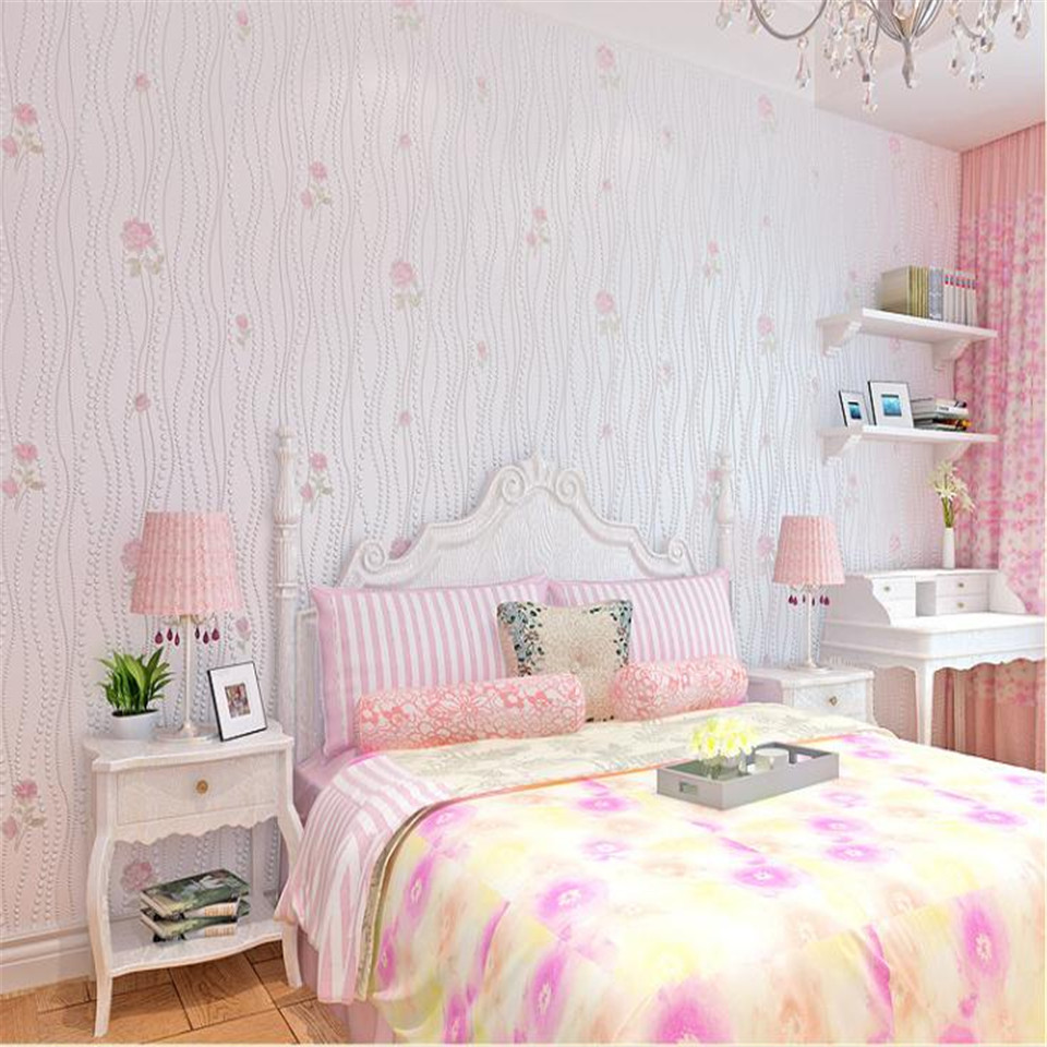 pink flower desktop floral bedroom living wall 3d modern paper embossed roll wallpapers decor