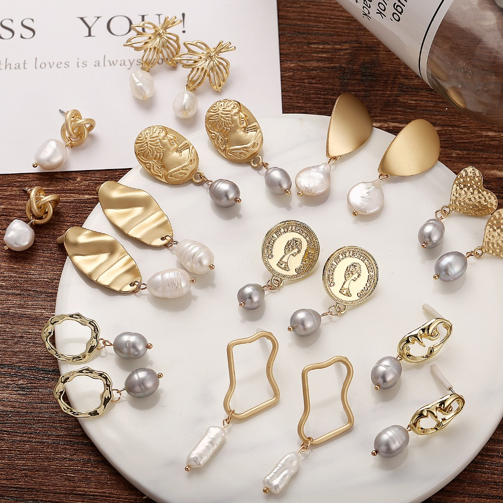 10 Style Geometric Pearl Long Drop Earrings For Women Girl Brincos Metal Dangle Earring Gold DIY Fashion Jewelry Christmas Gift