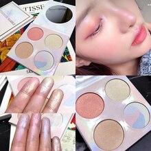 professional face makeup 4 colors bronzer and highlighter palette powder make up glow kit highlighter contour palette недорого