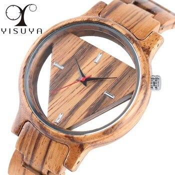 Unique inversé géométrique Triangle bois montre hommes femmes Creative creux cadran complet en bois Quartz montre-bracelet Reloj de madera 2019