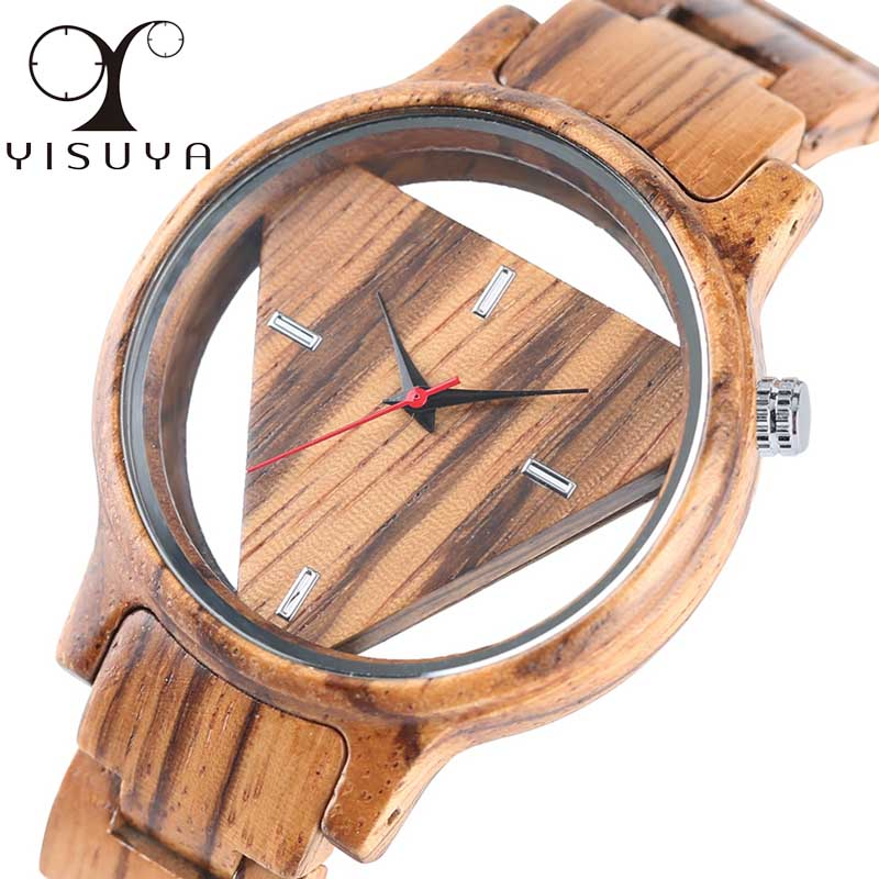 Unique Inverted Geometric Triangle Zebra Wood Watch Men Women Creative Hollow Dial Full Wooden Quartz Wristwatch Reloj de madera unique hollow dial men women natural wood watch with full wooden bamboo bangle quartz wristwatch novel handmade clock gifts item