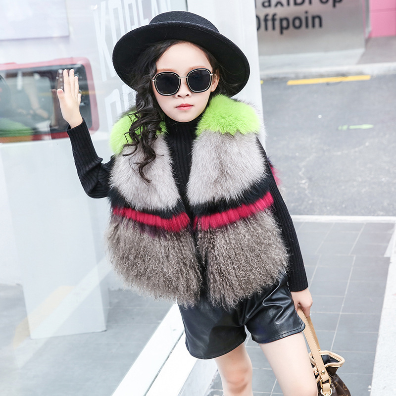 Girls Winter Fashion Loose V Neck Sleeveless Fox Fur Vest Kids Clothes Children Mix Color Fur Thick Warm Coats Baby Vest Jackets floral slash neck vest