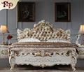 Europa Muebles De dormitorio king size cama de cuero moderno Diseño, juego de dormitorio de madera maciza