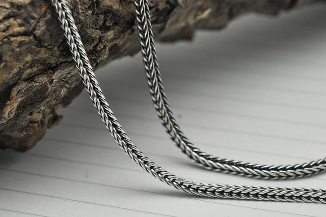 a40df93e4e98 Cola de zorro de largo collar de cadena gruesa de ley 925 de plata  Tailandesa retro