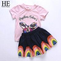 Niños verano ropa niñas traje 2018 niños casual imprimir mariposa t-shirt + falda del arco iris de dos piezas Niño ropa de la muchacha