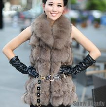 Genuine fox fur vest women Long fox fur coat natural jacket Free ship customized big size the lowest price lady free drop ship