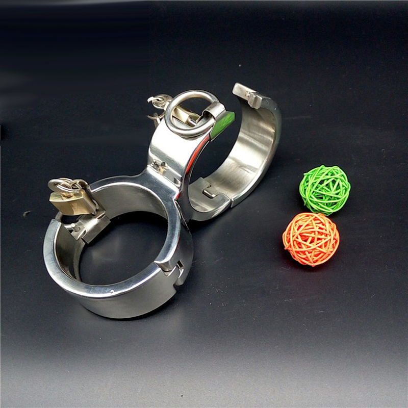 Male/female handcuffs for sex 8 style Fixed stealth lock metal handcuffs stainless steel slave bdsm bondage hand cuffs toys creative handcuffs style keychain silver