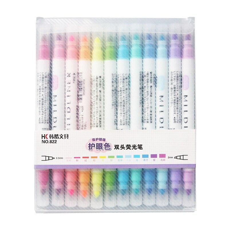 12 Pcs/set Cute Art Highlighter Pen Marker Pen Double Headed Fluorescent Pen Drawing Mark Pen Learning Art Supplies Stationery