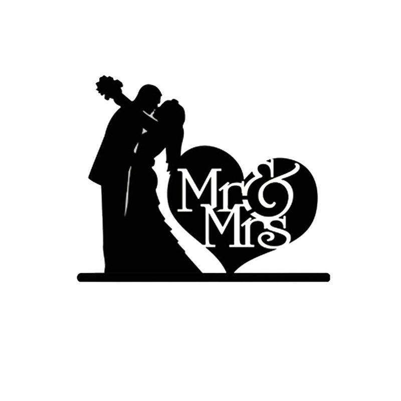 New Mr Mrs Wedding Decoration Cake Topper Acrylic Black