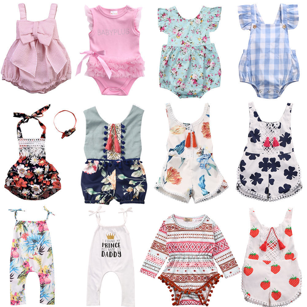 2018 Flower Baby Girls Clothing Newborn Baby Girl Floral Rompers Long Sleeve Jumpsuit Playsuit Summer BabY Girls Clothes(China)