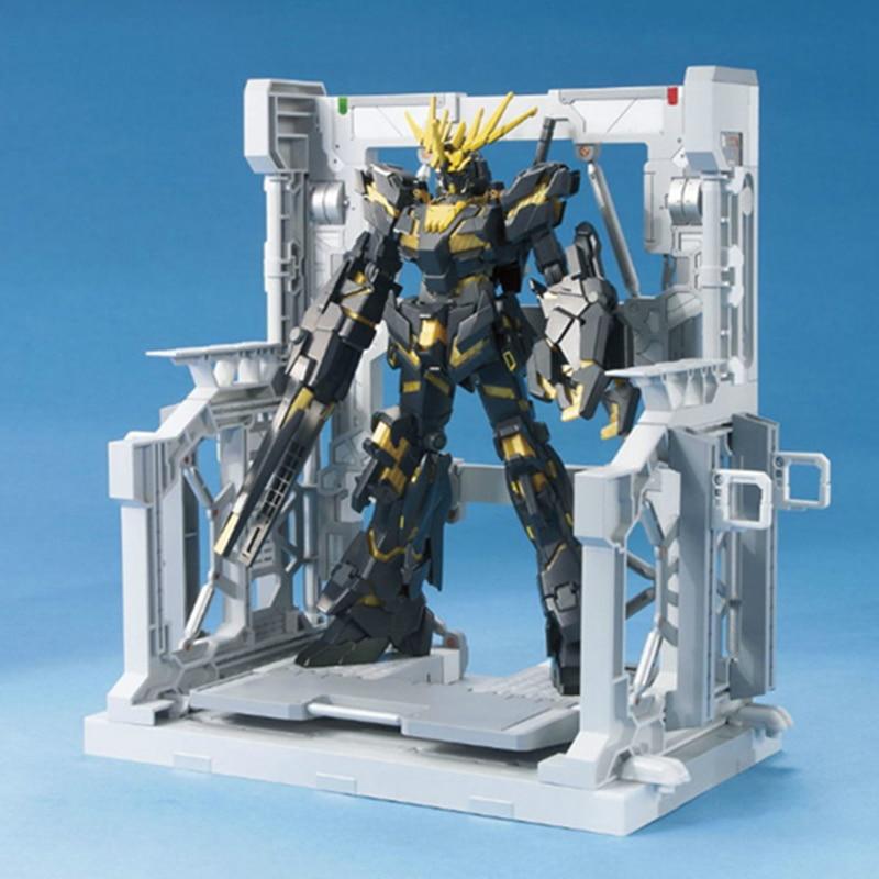 1PC PVC Gundam Hangar Warehouse Base Suitable Display Stand Bracket for 1/144 HG/RG MSN-06S MG Unicorn Action Figure model fans gundam model hg 1 144 assembly sazabi evo msn04 free shipping