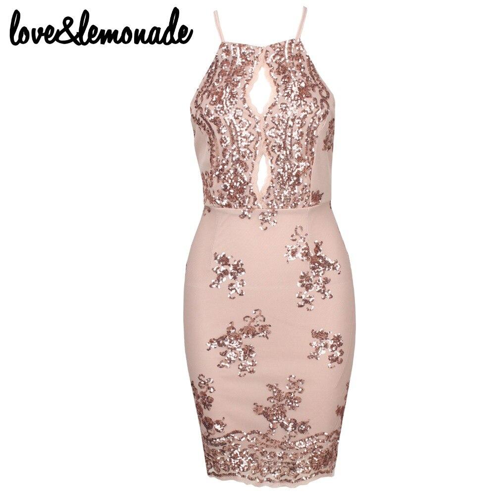 Love & Lemonade sexy corte Halter con lentejuelas de oro vestido de ...
