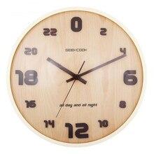 24 Часов Творческий 12 дюймов Деревянные Настенные Часы Тихая Кварцевые Часы с Второй Плач Иглы для Гостиной Украшения Дома