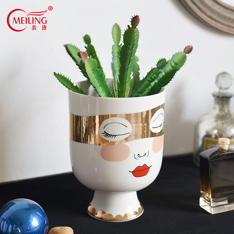 Personalized Vase Double side Face Decoration Home Ceramic Vases For Flower Unique Wedding Housewarming Gift Pottery
