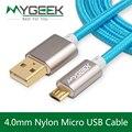 Nylon Android Micro Cable de datos USB for Samsung galaxy nota S3 S4 xiaomi HTC Sony 2 m de carga rápida carga del USB del teléfono Cable