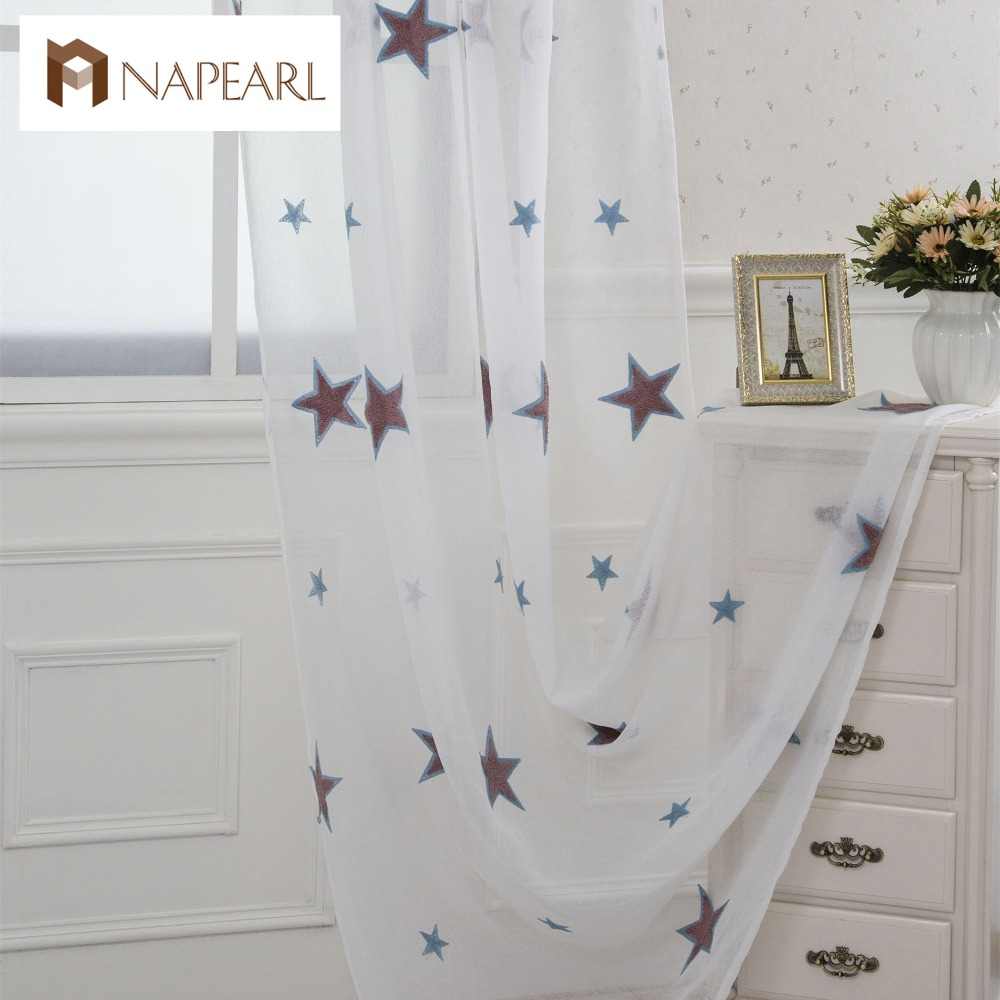 cartoon embroidered linen tulle curtains white sheer kid room window children bedroom girl modern curtain star