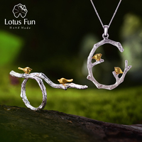 Lotus Fun Real 925 Sterling Silver Original Handmade Fine Jewelry Bird on Branch Jewelry Set with open Ring Pendant Necklace