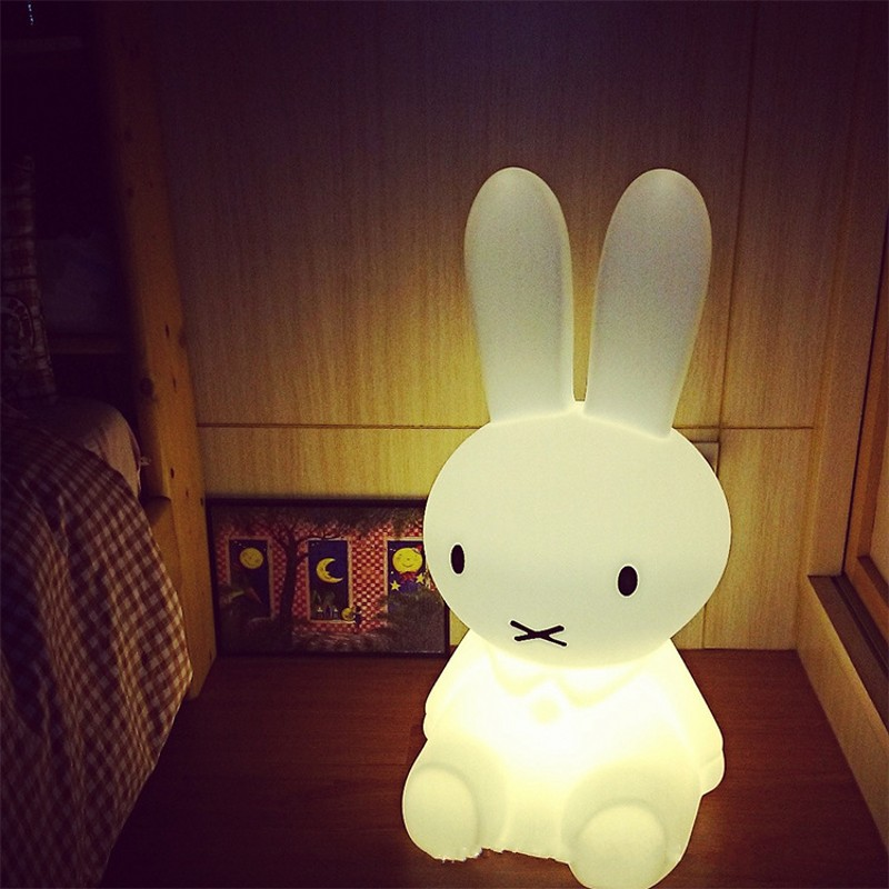 Creative Cute Rabbit Brown Bear Night Light 7 Color/Warm Light Dimmable Child Gift LED Night Light Bedroom Decor Bedside Lamp beiaidi 7 color usb rechargeable rabbit led night light dimmable animal cartoon light with remote baby kids christmas gift lamp