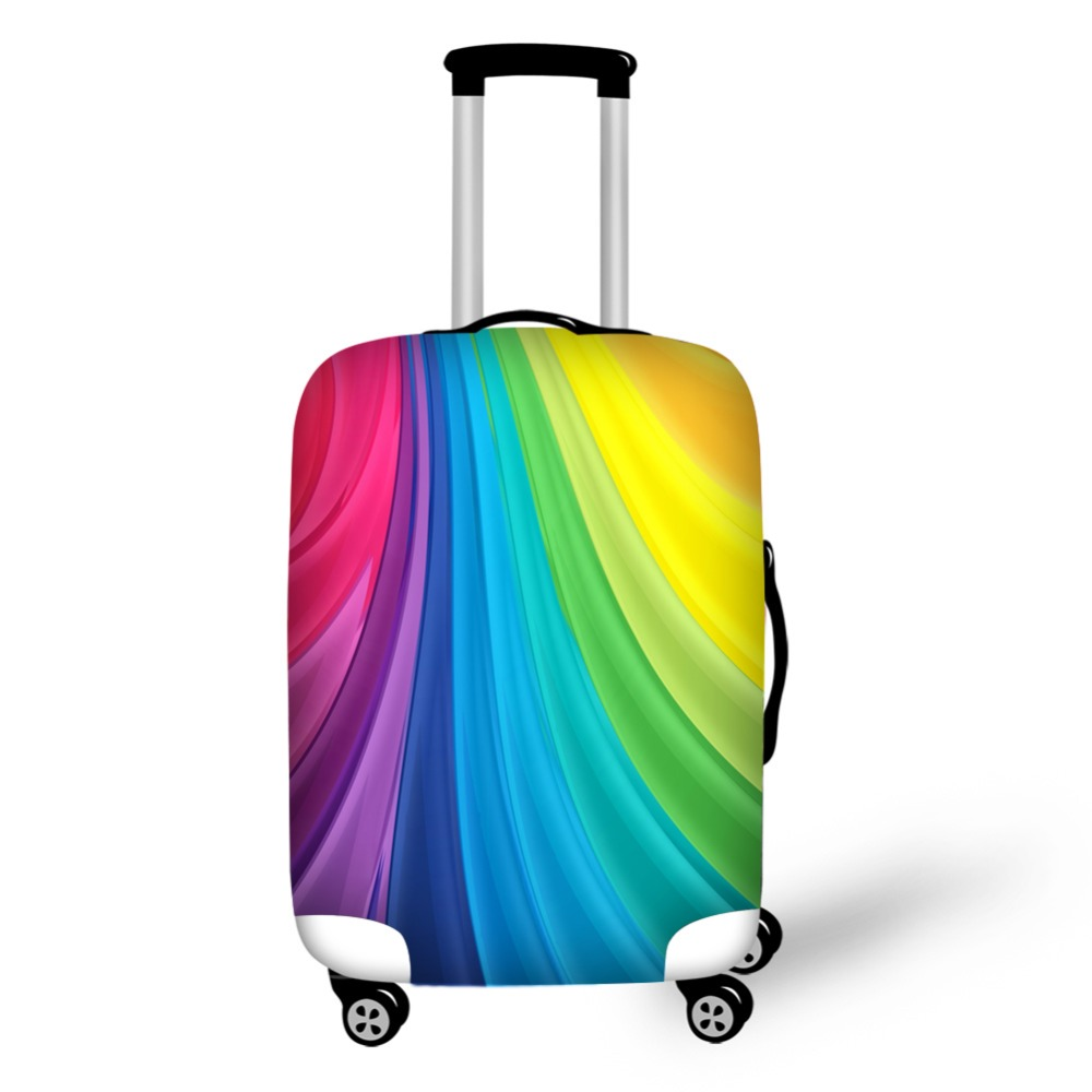 Colorful Rainbow 3D Line Travel Accessories Suitcase Protective Covers 18-32
