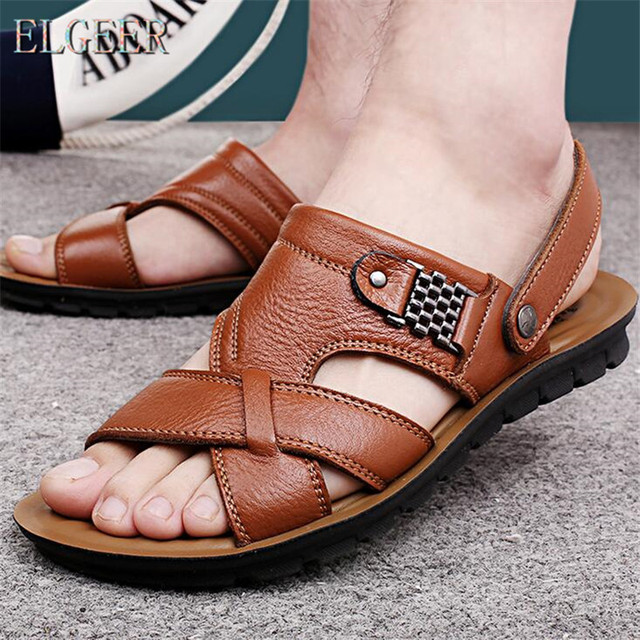 2018 summer beach shoes men's trend casual non-slip sandals 100% leather men's sandals shoe 2