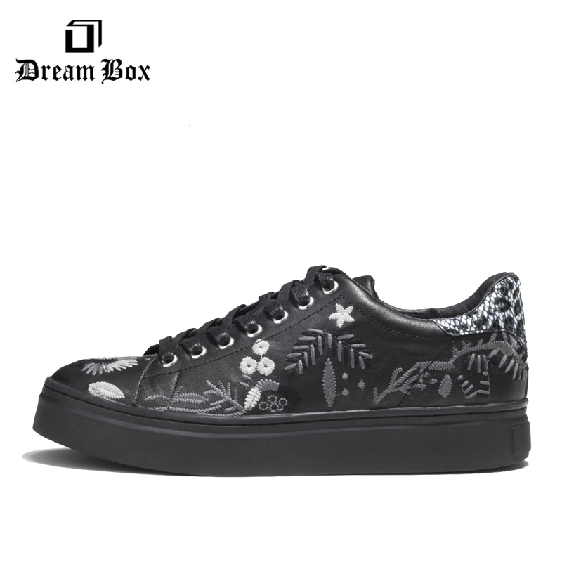 Spring And Summer Tide Shoes Leather Embroidery Tie Casual Shoes Wild Men 39 s Shoes in Men 39 s Casual Shoes from Shoes