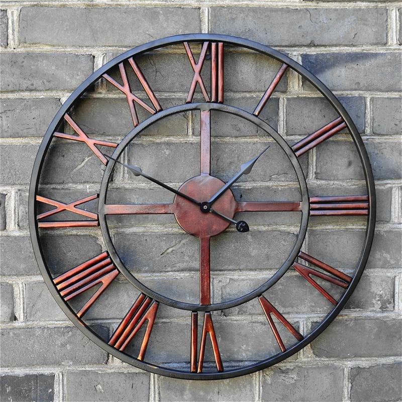 47cm 3D Circular Retro Roman Wall Clock Wrought Hollow Iron Vintage Large Mute Decorative Wall Clock Home Wall Decoration