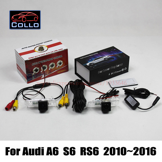Для Audi A6 / S6 / RS6 2010 ~ 2016 / 2 в 1 предупреждения столкновений активные системы безопасности автомобильная камера заднего вида + лазерная задний противотуманный фонарь