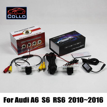 For Audi A6 / S6 / RS6 2010~2016 / 2 In 1 Collision Avoidance Active Safety System Car Rear View Camera + Laser Rear Fog Lamp