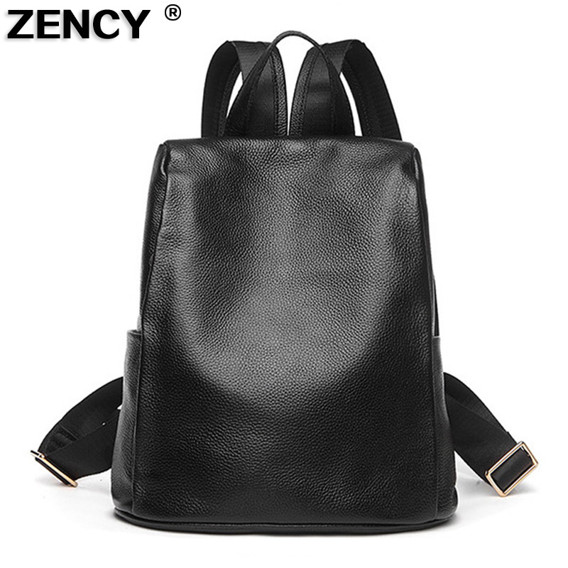 ZENCY 2018 Fashion 100% Soft Natural Genuine Leather Shoulder Backpack Women Ladies Girls First Layer Cowhide School ipad Bags zency genuine leather backpacks female girls women backpack top layer cowhide school bag gray black pink purple black color