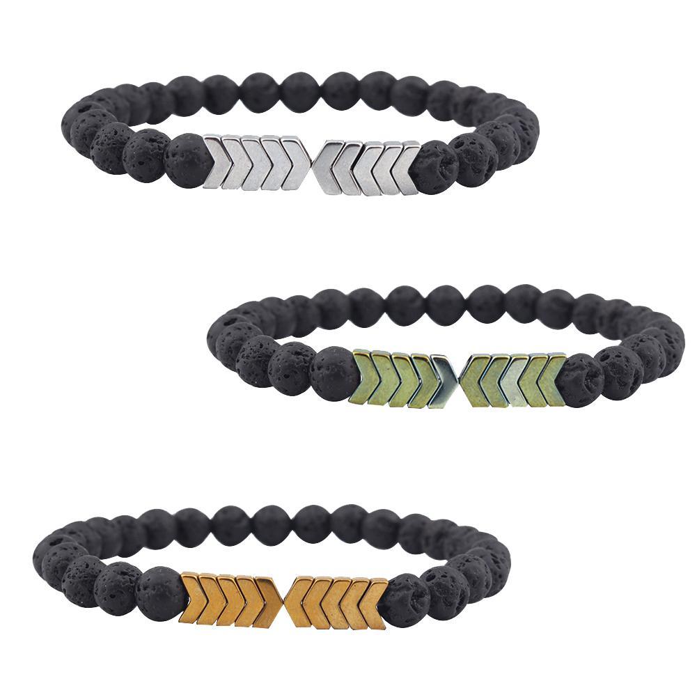 Vintage Arrow Mark Natural Stone Wrist Chain Decor Men Women Fashion Jewelry Bracelet
