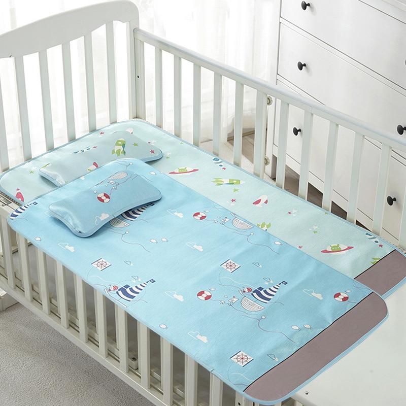 2pcs Summer Baby Bedding Mat Ice Silk Jacquard Mat Cool Baby Children Sandwich Dormitory Mat With Pillow Two Piece
