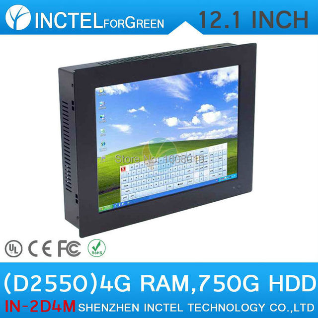 "Cheap 12.1"" All-IN-One touchscreen Intel Dual Core D2550 1.86Ghz 4G RAM750G HDD 1024*768 4:3 LED Panel PC with HDMI COM Win.7 XP"