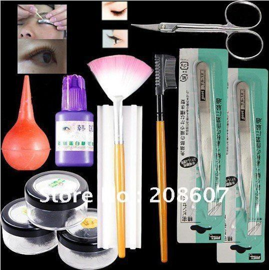 2011 False Eyelashes Eyelash Extension Kit with curlers rods freeshipping wholesales price
